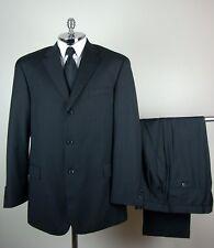 BACHRACH Mens Black WOOL & CASHMERE BLEND 3 Button Pinstripe Suit size 44 L
