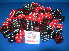 NEW 12 ASSORTED DICE 16mm BLACK-RED, BLACK-WHITE AND RED-WHITE 4 OF EACH COLOR
