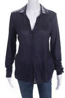 Loro Piana Womens Long Sleeve V-Neck Button Down Blouse Purple Size 10