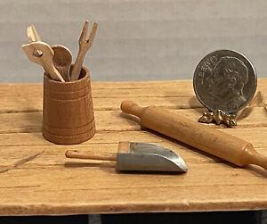 Vintage Artisan Wood Utensils Rolling Pin Scooper Dollhouse Miniature 1:12