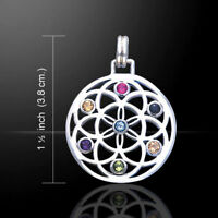 Blume des Lebens Anhänger Multicolor Silber Gothic Schmuck - NEU