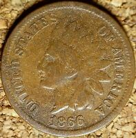 1866 Indian Head Cent - ATTRACTIVE GOOD+ SEMI-KEY, ROT REV, AS SHOWN  (K937)