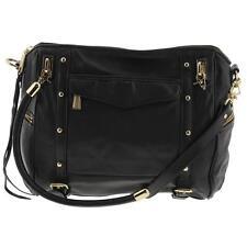 Rebecca Minkoff 5680 Womens Cupid Black Leather Satchel Tote Handbag Large BHFO