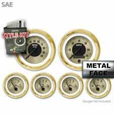 Gauge Face Set SAE Classic Retro Gold VI, Black Classic Needles Gold Trim Rings