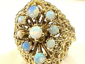 Antique Victorian 14k Yellow Gold Opal Ring Edwardian Cluster HEAVY 9.1 grams