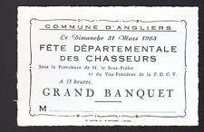 ANGLIERS (86) MENU au verso carte invitation / FETE DEPARTEMENTALE des CHASSEURS
