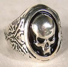 SKULL HEAD BIKER RING mens jewelry BR256 silver rings SKELETON BLACK NEW SKULLS
