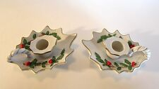 Vintage Signed 1986 Lefton China Candle Holders Holly Berry Gold Trim #05505