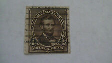 Dark Brown Vintage USA Used 4 Cent Stamp Cancelled