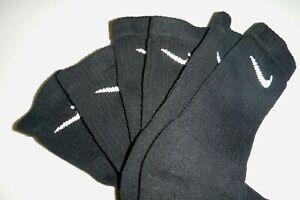 nike 3pair mens athletic soft knit casual crew sports socks -8-12 - black