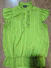 B Wear Vintage look Women's Green Ruffle Detail Blouse