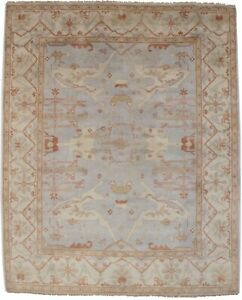 Floral Classic Oushak 8X10 Hand-Knotted Muted Grey Oriental Rug Decor Carpet