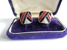 Black Red Enamel Cufflinks Sterling Silver