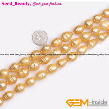 11x14mm Big Gold Pear Drop Cultured Freshwater Pearls Jewelry Making Beads 15""