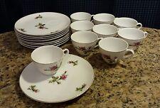 Vintage Japanese Porcelain Pink Roses Tea Cups and Snack Plates Set 9
