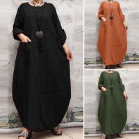 ZANZEA 8-24 Women Long Kaftan Abaya Caftan Loose Baggy Oversized Maxi Dress NEW