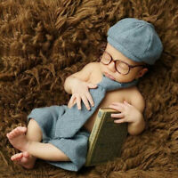 BE_ KM_ KF_ Newborn Baby Boy Hat Tie Shorts Glasses Costume Set Photography Prop