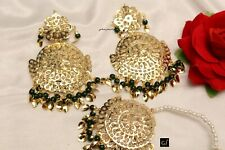 Bridal Punjabi Indian Wedding Earrings Gold Jadau Pippal Patti Green Earings