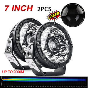 "2PCS 7"" Inch Osram Laser High Output LED Spot Fog Lights Offroad 4X4 ATV Truck"