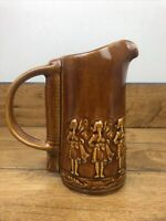 Vintage Seagrams 100 Pipers Scotch Whiskey Brown Glazed Pitcher 7 Inch