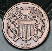 1866 Two Cent Piece 2C High Grade Good Date Civil War Era US Copper Coin CC5736