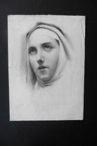 FRENCH SCHOOL 19thC - PORTRAIT RELIGIOUS WOMAN SIGN. RAVIERE - CHARCOAL DRAWING