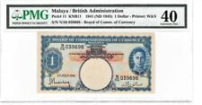 MALAYA BRITISH ADMINISTRATION 1941 ND(1945) $1 DOLLAR PMG40 PRINTER W&S BANKNOTE