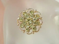 Sparkly & Pretty Vintage 1950s Yellow Rhinestone Brooch  859JE4