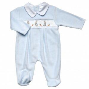 2021 Baby Boy Spanish Style Romany Rabbits Blue Smocked Velour Babygrow Outfit