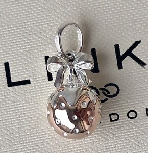 Links Of London Silver Rose Gold Vermeil Christmas Bauble Pudding Charm Pendant