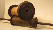 2 Large Antique Thread Bobbins - Large Wood Spindles