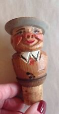 Antique Anri Italy Hand Painted Carved Wood Cork Bottle Stopper Man Peasant Hat
