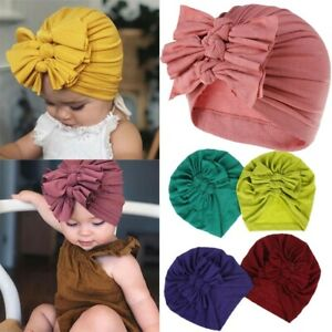 1pc Baby Infant Girls Turban Hat with Bow Baby Cap Multi Knot Head Wrap Beanie