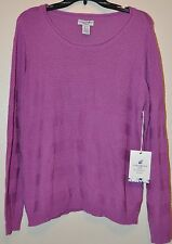 Caribbean Joe Petites Purple Long Sleeve Sweater Sz PL