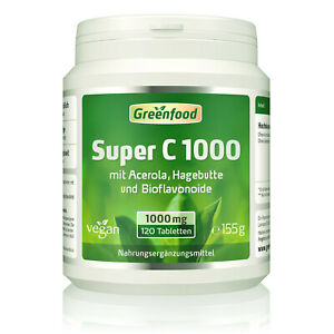 Greenfood Super C, 1000mg Vitamin C, hochdosiert 120 Tabletten
