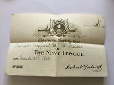 THE NAVY LEAGUE - MEMBERSHIP CERTIFICATE 1910