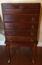 5 Drawer Queen Anne Style Silverware Footed Stand Chest Cherry Lined Wood