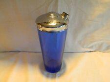 VINTAGE HAZEL ATLAS COBALT BLUE GLASS 9 ½ INCH COCKTAIL SHAKER