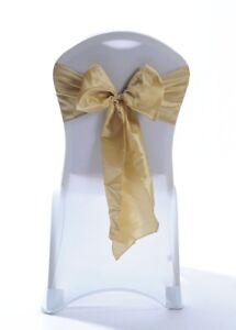 100 Antique Gold Taffeta Chair Cover Wedding Sash Bow Wedding Party UK