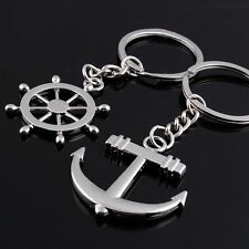 NEW Key Chain Ring keychain Fashion Metal couples lovers Anchor & rudder lover