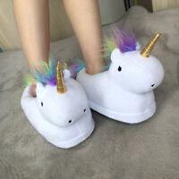 Unisex Niedlich Einhorn Unicorn Plüsch Hausschuhe Pantoffeln Schuhe Slipper Weiß