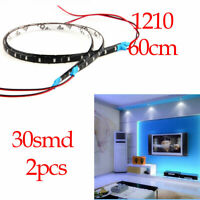 60CM 2Ft 1210 30SMD LED Waterproof Flexible Strip Light Auto Home 12V Blue 2pcs