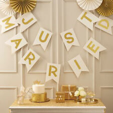 Gold Ivory Just Married bunting -  wedding venue hanging decoration Ginger Ray