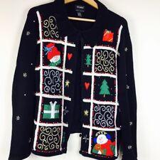 Designers Originals Studio Joy Womens Sweater Size Large Black Ugly Christmas