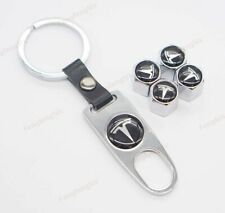 For Tesla Car Wheel Tire Valve Stems Caps Covers Keyring Keychain Styling Logo
