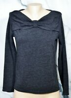 RAFAELLA Black Bow Neck Sweater Small Long Sleeves Unlined Polyester Blend