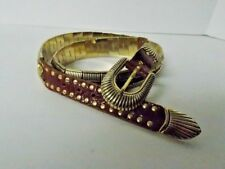 Nanni Brass and Leather Ladies Belt Spell Out on Every Link EUC