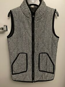 Boutique Only Women Gray Vest XL, Houndstooth Black , Gold Hardware