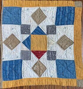 "Antique 1800's quilt  Piece 15""X 15"" Crafts Cutter Cheddar Blue Red Tan"