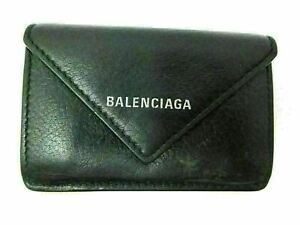 Authentic BALENCIAGA Compact Wallet 391446 Leather Black With Box 85825 B